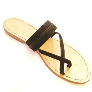 Tuccia de Capri Black Suede Leather Sandals